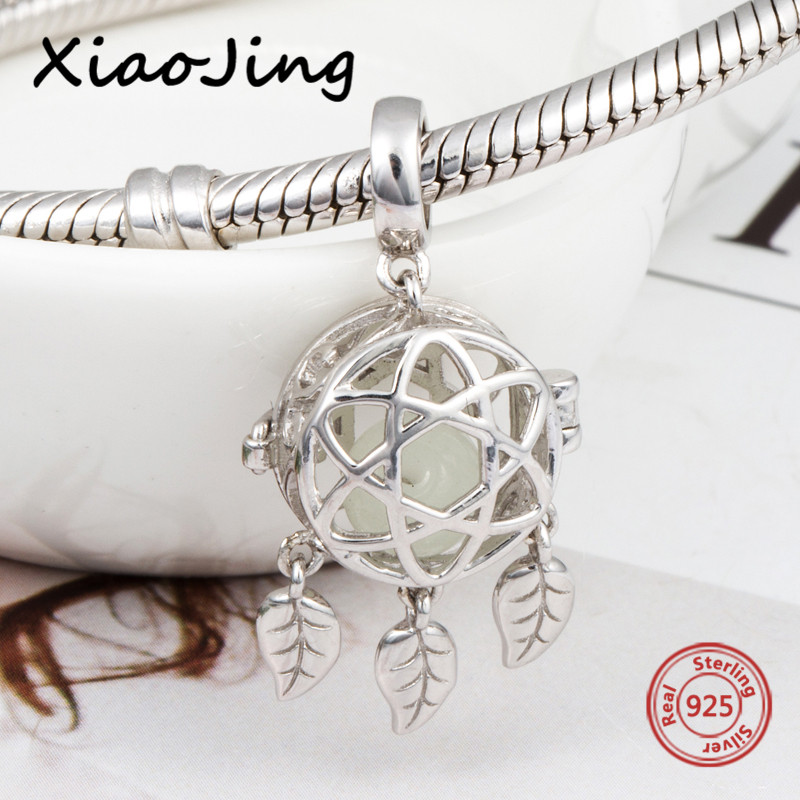 все цены на Fit authentic pandora bracelet silver 925 pendant dreamcatcher glowing charms beads diy fashion jewelry making for women gifts