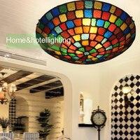 Traditionnelle plafonniers Tiffany Teinté de Style En Verre lampe de plafond de Motif Floral Encastré tag3 Lumières dans Rond plafond