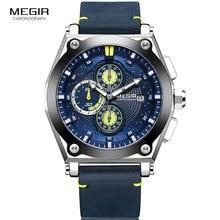 Megir Chronograph Quartz Watches Men Leather Strap Military Casual Sports Wristwatch Man Waterproof Relogios Relojes 2098 Blue