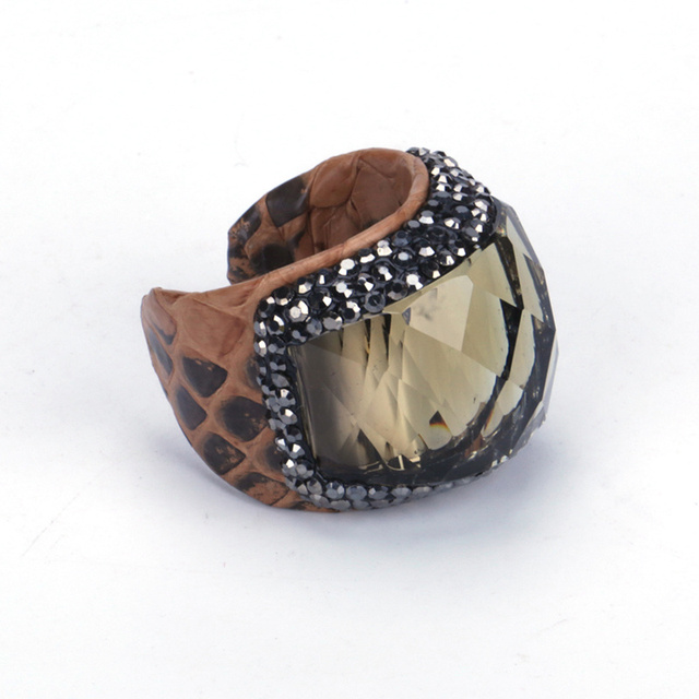 e75654836ea Trendy Faceted Angular Smoky Brown Glass Bead Charm Pave Rhinestone Real  Snake Leather Big Size Open Rings Cuff for Man Women