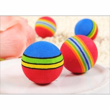 10pcs/lot Super Q Rainbow Ball Pet Cat Toy Diameter 3.5cm EVA Playing Toys For Small Cats P20