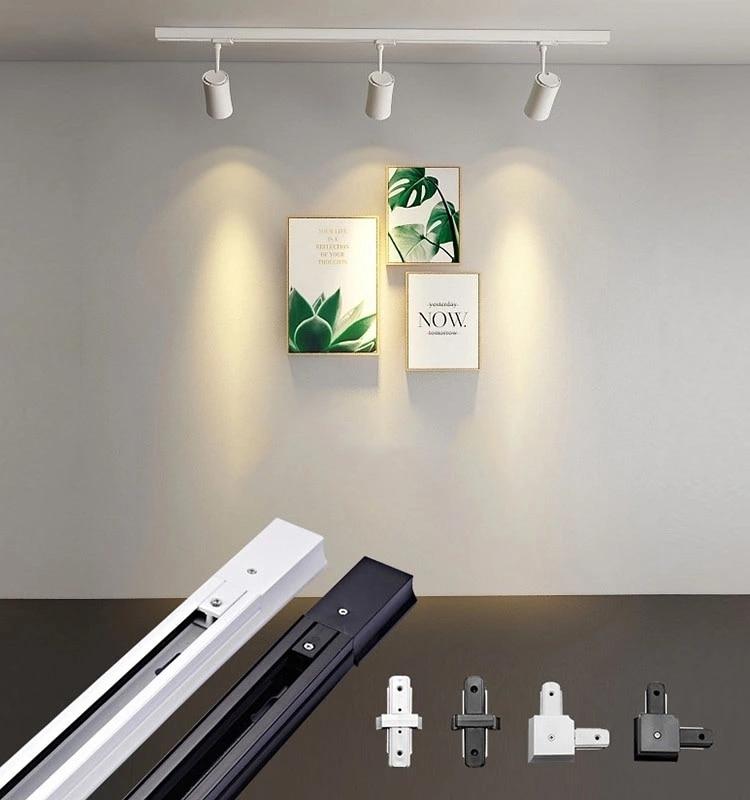 Us 2 5 Universal 1m 0 M Track Rails Aluminum Lighting Ing Spot Lamp Tracking Rail Fixture 3 4 Wires Black White In