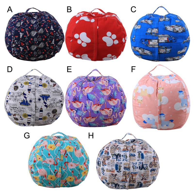 Hot Sale Stuffable Animal Printed Toys Storage Bean Bag Stuffed Children Plush Toy Organizer Creative Supplies