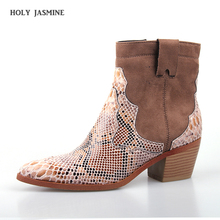hot deal buy sexy women's snakeskin ankle boots woman high heels cowboy boots 2019 spring/autumn fashion snakeskin ankle boots chelsea boots