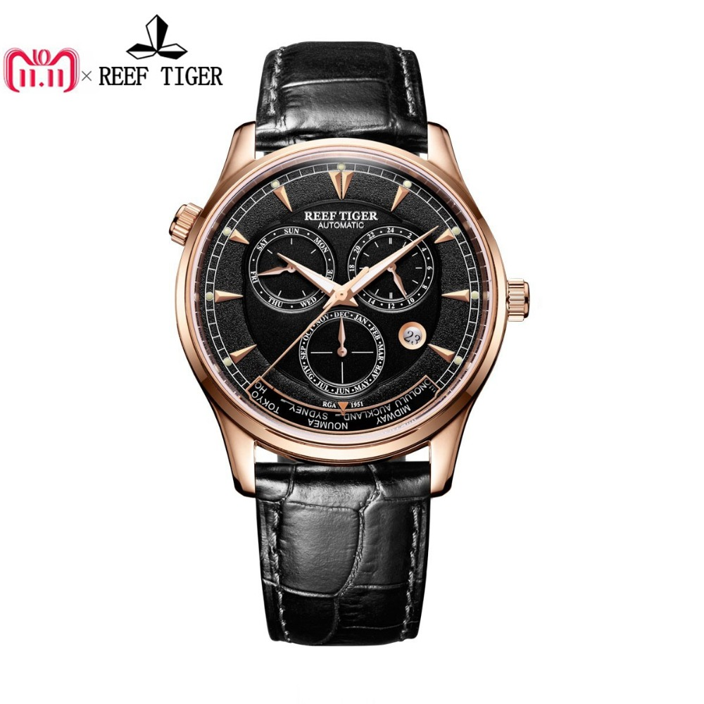 Reef Tiger/RT Designer Men's Watch with World Time Date Rose Gold Automatic Watch RGA1951 rover time rt 255