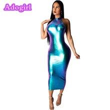 Light Blue PU Leather Skinny Dress Halter Sleeveless Bodycon Dresses Open Back Sheath Night Club Party Vestidos Outfits цена 2017