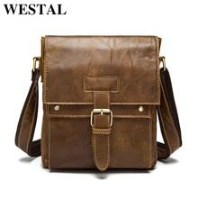 WESTAL Genuine Leather Men Bags Male Small Messenger Bag Man Fashion flap Shoulder Crossbody Bags men leather bag handbags 9040