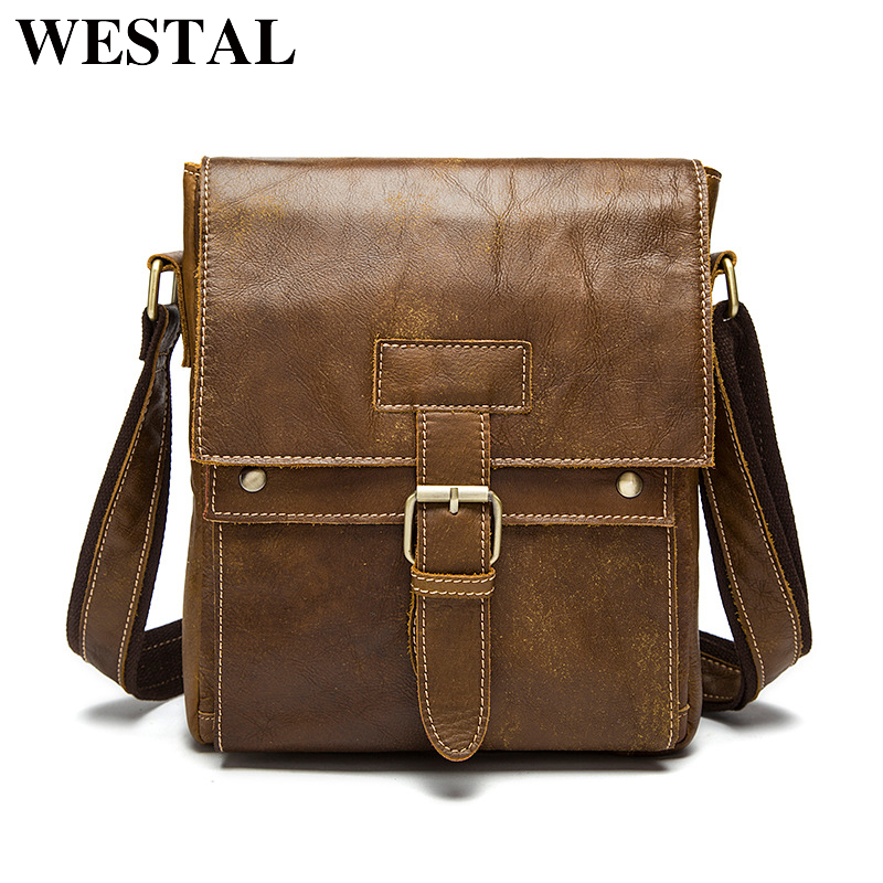 WESTAL Genuine Leather Men Bags casual men's Messenger Bag flap Shoulder Crossbody Bags male men leather bag handbags 9040