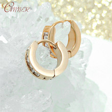 CANNER Classic Round Small Hoop Earrings Fashion Geometric Circle Huggie for Womens Punk Jewelry Korean Crystal Earings
