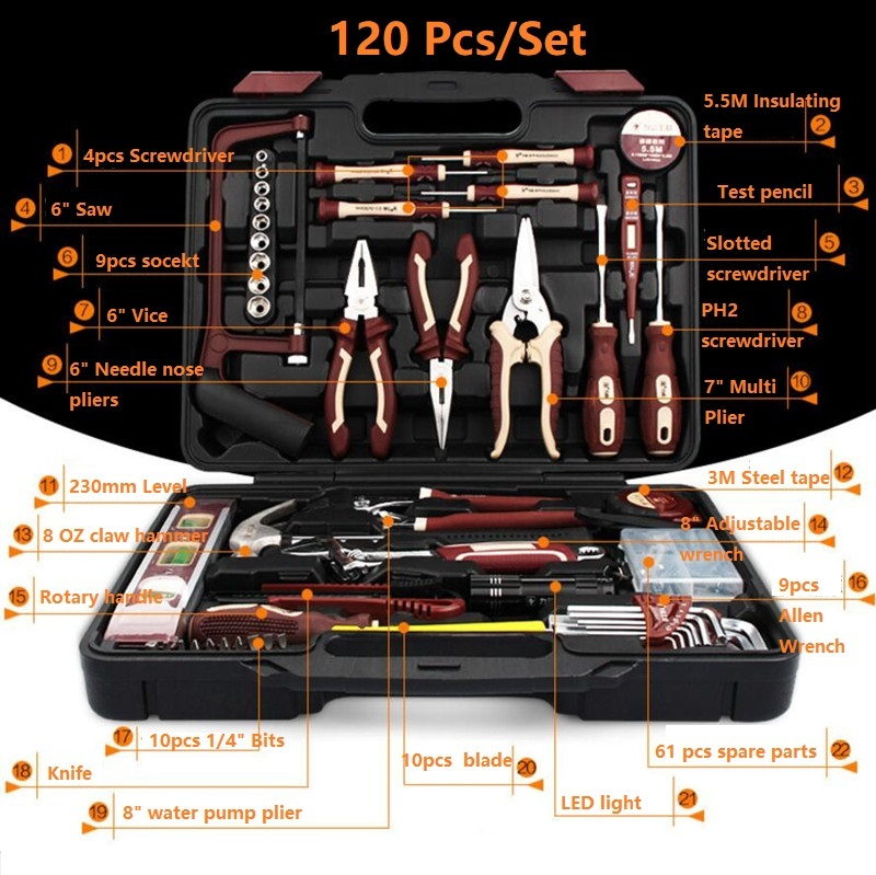 120pcs Electrical Repair Tools Household Tool Set Kitchen Mechanic Tool Kit Pliers Screwdrivers Sockets Wrenches Hammer Knife horusdy household set tool screwdrivers kit multifunctional 34 in 1 high quality