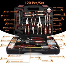 120pcs Electrical Repair Tools Household Tool Set Kitchen Mechanic Tool Kit Pliers Screwdrivers Sockets Wrenches Hammer Knife