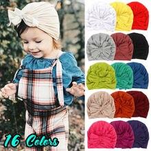 цены Spring Autumn Newborn Baby Caps Cute Bowknot Beanie Hat Toddler Unisex Kids Boy Girl Soft Cotton Warm Hat Children 16 Colors