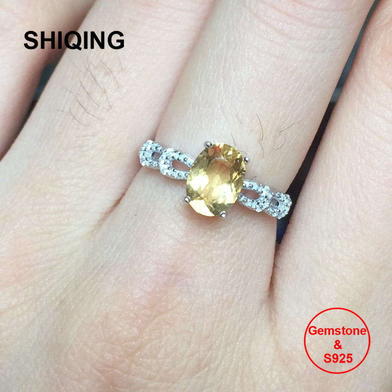 SHIQING bijoux en pierres précieuses or blanc couleur or rose s925 argent nature citrine anneaux pour l'engagement