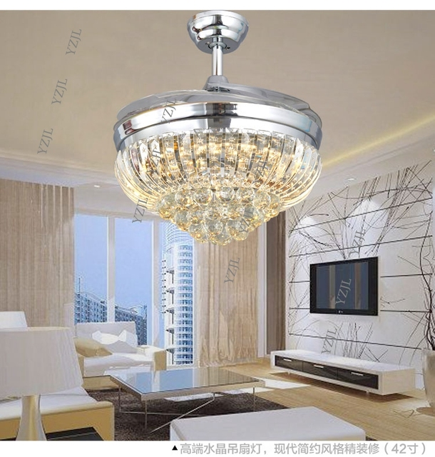 Stealth Ceiling Fan Light 48inch With Remote Control Led30w Three Crystal Color Change