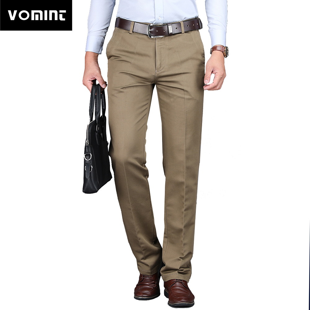 Vomint 2019 New Men's Casual Pants Regular Straight Fit Fashion Basic Must Have Icon Work Suit Trousers Black Khaki Armygreen