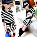 Girl Dress Autumn 2016 Selling Long Sleeve Black Rose Red Stripes Girls Cotton Dress Teenage Dress vestidos Infantis Clothes