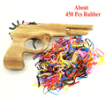 450 Unids Bala Multicolor Banda de Goma Lanzador De Madera Pistola de Mano Juguetes de Tiro con Pistola Pistolas de Fiesta Al Aire Libre Deportes para Niños Al Por Mayor