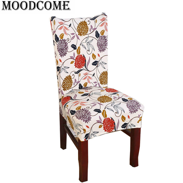 Home Decoration Dinning Chair Covers Wholesale Cheap Spring Flower Stretch Spandex Dining Room