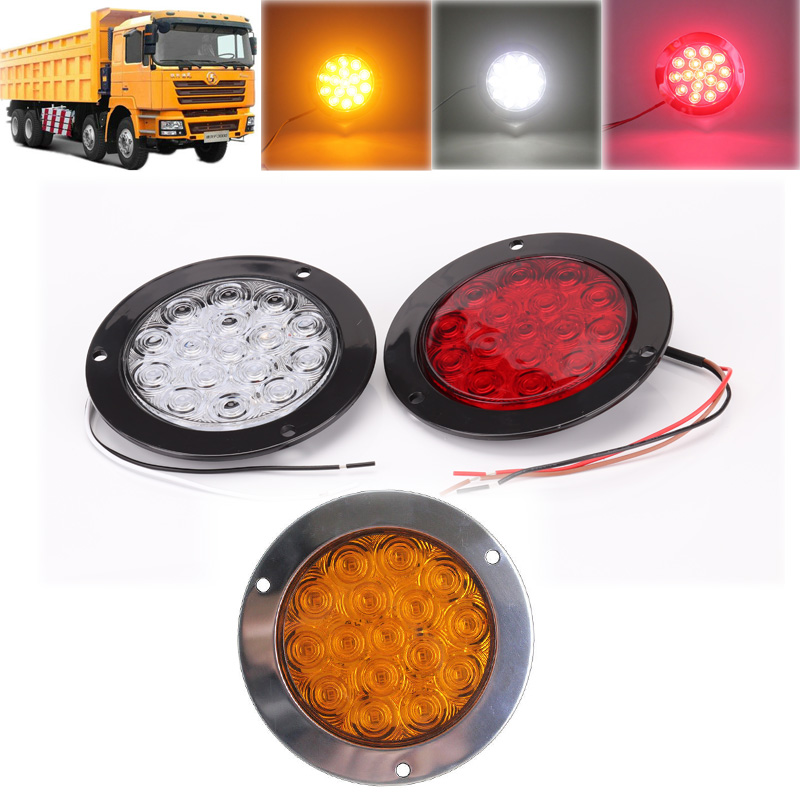 12V 24V Round Aluminum 16 LED Truck Trailer Running Brake Tail Ligth SUV Lorry Brake Turn