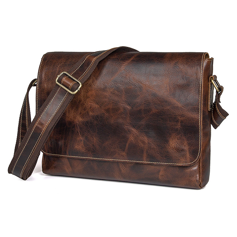 Vintage Chocolate Color 100% Real Genuine Leather Men Messenger Bags Business Male Leisure Office Bag Men's Travel Bags #J1036 simline vintage 100