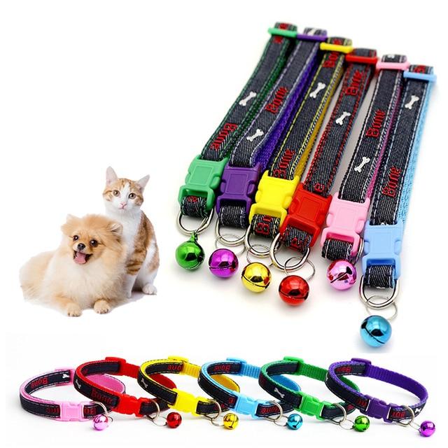 Facile da Indossare Pet Collare di Cane Del Gatto Dei Jeans Ricamato Osso di Can