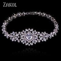 ZAKOL Classic Micro Inlay Cubic Zircon Watch Shape Bracelets Bangle Luxury Silver Color Flower Wedding Jewelry