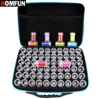 HOMFUN 60 Bottles Diamond Painting Box Tool Container Storage Box Carry Case Holder Hand Bag Zipper Design Shockproof Durable