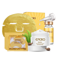 Skin Care Set Snail Face Cream Anti Aging Six Peptides Moisturizing Hyaluronic Acid 24K Face Mask Collagen Eye Care Gel Patches