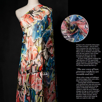 Strong Push Silk Chiffon Fabric Silk Cloth Ultra Small Bronzing Printing Tulle Bedding Abstract Atmospheric Skirt