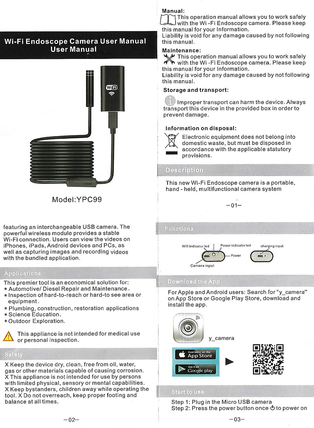 Hard Cable 720P Wifi Endoscope Camera 8mm Waterproof Endoscope Android iOS  Smart Phone Endoscope Pipe Wi-fi Wi fi Mini Camera