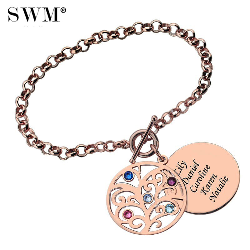 Costume Name Bracelets for Women Family Tree of Life Bracelet with Letter Engraving Birth Stone Rose Gold Jewelery Gift for Mom nc 5364 women s bohemian style delicate floral necklace w pendant golden blue 26cm