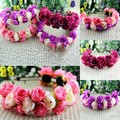 Rose Flower Crown Headband Wedding Festival Double Row Floral Garland Hairband