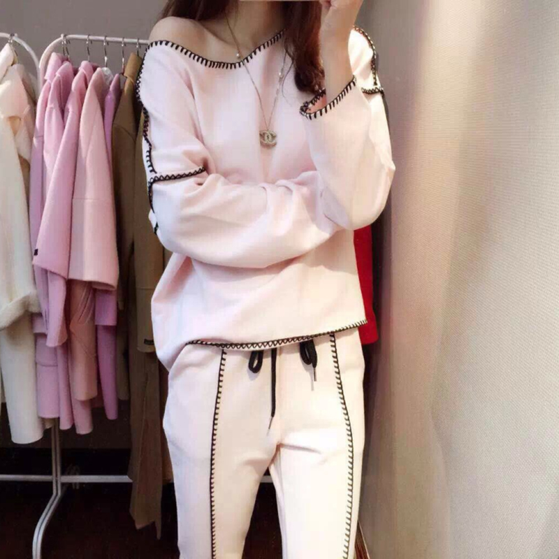 Women's Sweatshirt+Pants 2019 Spring Lady Tracksuit Lock Edge 2 Pieces Sporting Pink Suit For Women Autumn Women's Sets Stylish
