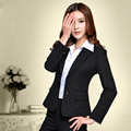 Мода пр классические женщин пиджак и брюки для офиса дамы деловой карьеры устанавливает черный с длинным рукавом брюки костюмы