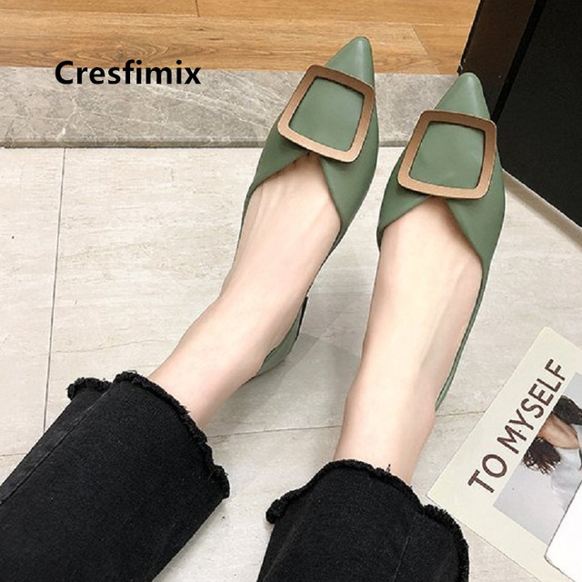 Cresfimix Zapatos De Mujer Women Cute Yellow Comfortable Slip on Flat Shoes Lady Pointed Toe Soft Flats Female Shoes C5040
