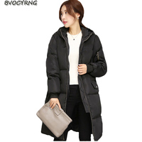 2017New Korea Winter Women Loose Eiderdown Cotton Coat Fashion Students Hooded Thickening Warm Slim Long Style parka Jacket Q624