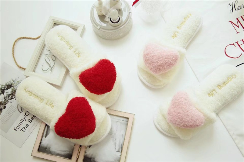 Women Indoor Fur Warm Slippers Autumn Comfortable Love Heart Cute Plush Casual Shoes Ladies Winter Soft Footwear