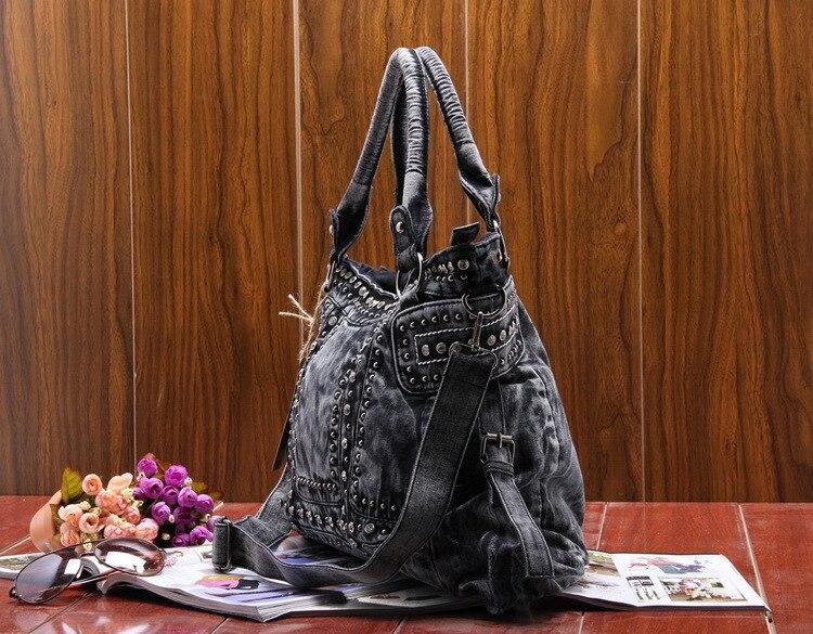 Design do vintage moda denim feminina saco