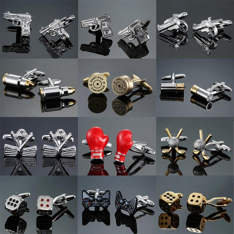 Novelty Fashion Shirt Cufflink Golf Gun Boxing Glove Gamblers Dice Design Hotsale Copper Material Cufflinks Whoelsale&retail
