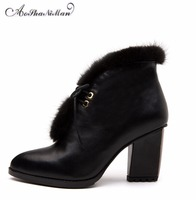 Autumn Winter Women Ankle Boots Genuine Leather Mid Heels Boots Ladies Fashion Casual Basic Boots Dress