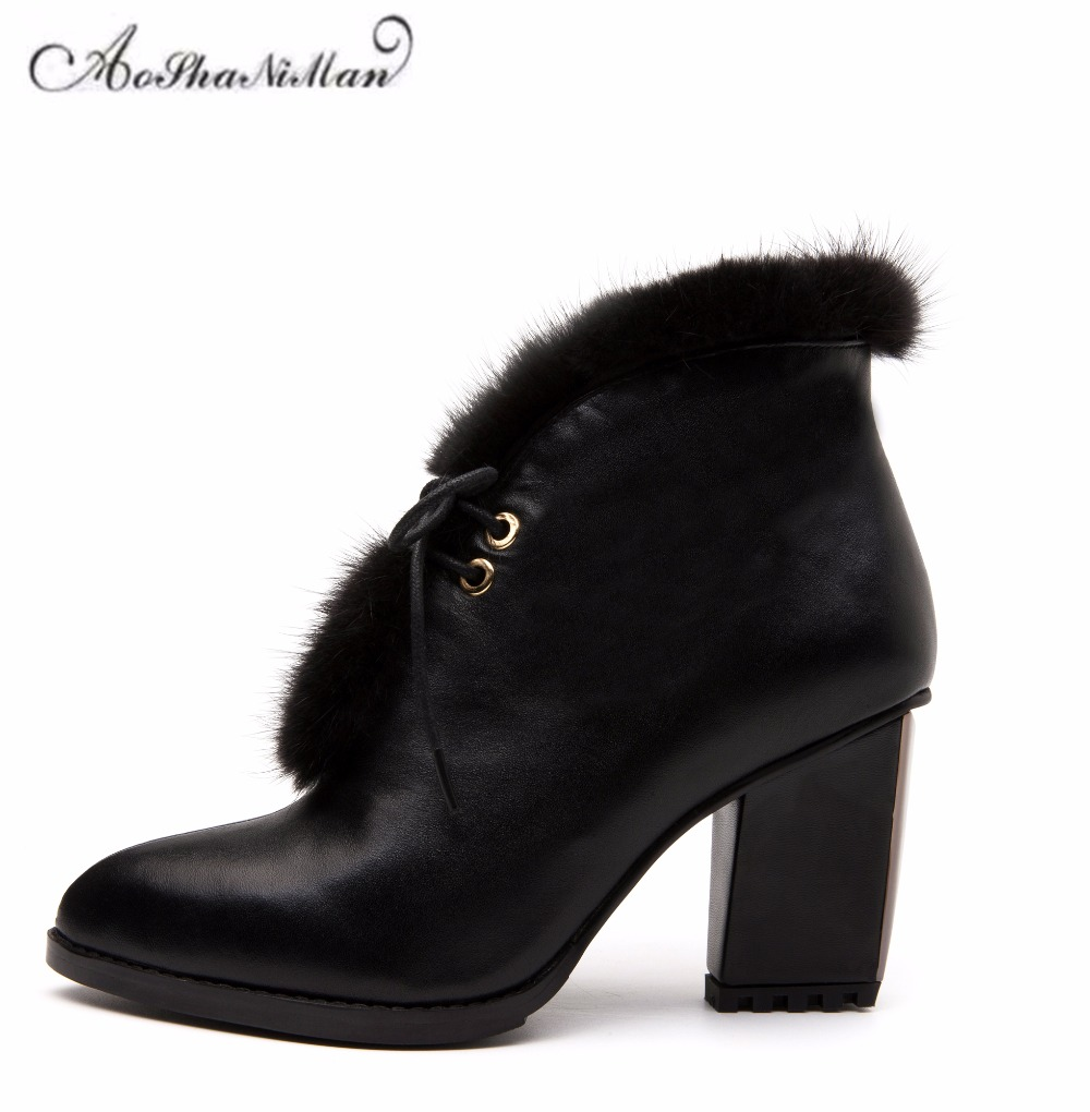 Autumn winter women ankle boots genuine leather mid heels boots ladies fashion casual Basic boots dress shoes with mink hair