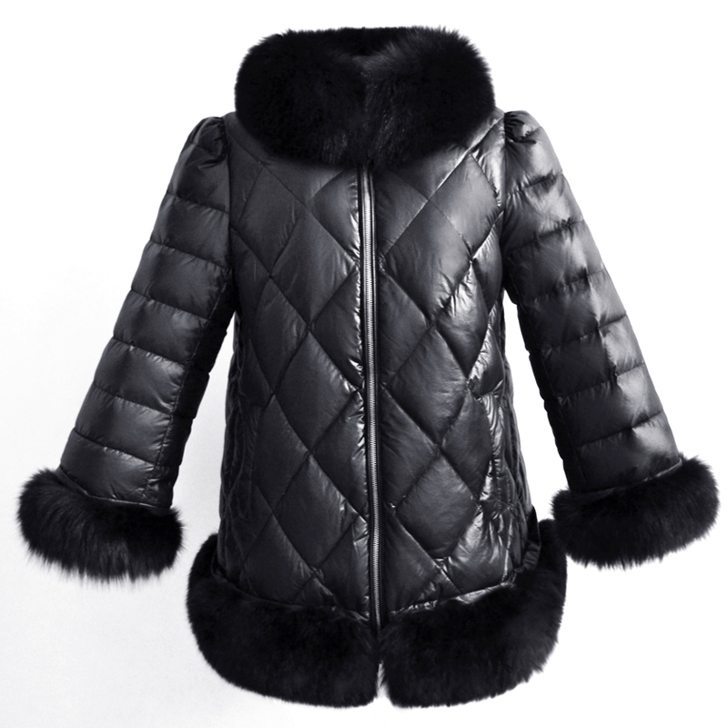 En À Manteau De Coton Vers Bas Zipper rembourré Chaud Le Cuir Femmes Belle Veste Longues Hiver 6q1261 D'hiver Manches Parkas Noir Épaissir Fourrure q1pwzaI