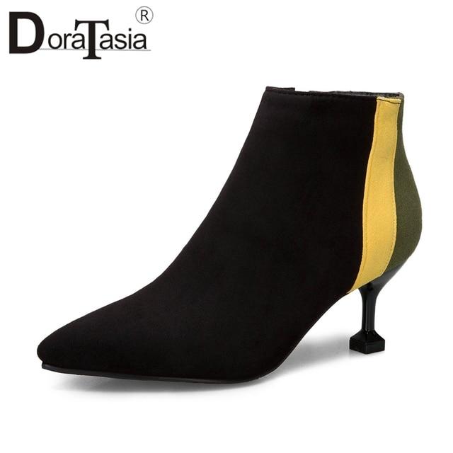 DoraTasia 2019 wiosna Plus rozmiar 31-52 marki mieszane kolor kobiety botki moda Chelsea buty wysokie szpilki buty kobieta