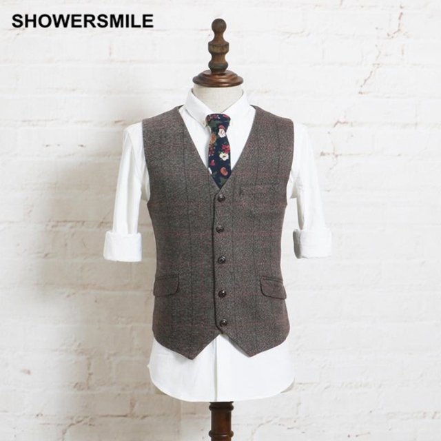 Mens Suit Vest Vintage Tweed Plaid Sleeveless Jacket Casual Autumn Winter Gilet Slim Fit Stylish Waistcoat Fashion Male Clothing