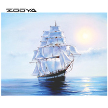 ZOOYA Daimond Painting Cross Stitch Sailboat Sea 5D Diamond Embroidery Sale Pictures Rhinestones Diamond Mosaic Full Pack RF1859(China)
