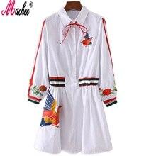 2017 новый белый мода весна блузка платья для женщин полосатый птица вышивка three четверти рукав причинно марка топы vestidos