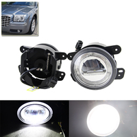 Fit For Jeep Wrangler 07 11 Led Auto Front Fog Light W DRL White Halo Rings