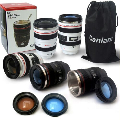 2016 hot new Canon Camera Lens Shaped 24 105mm Hot Cold Coffee Tea Cup Mug Thermos