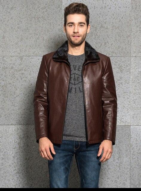 Man's Fur Jacket Men's Leather Jacket Mink Fur Coat Business Casual Bring Your Custom Handmade  Increase size Plus S-8XL