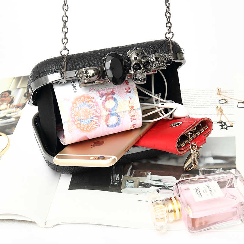 LYKANEFU Knucklebox ручная сумка вечерняя сумка клатч кошелек с головой черепа женская сумка дневные клатчи Дамская с цепочкой маленькая/большая